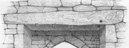 Illustration of the Ogham Stone Lintel in the Southern Doorway of Seskinan Church (Brash, 1868) - The Irish Place