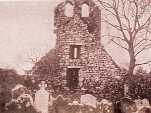 The West Gable showing the Double Belfry pre-1990's of Knockboy Church - The Irish Place