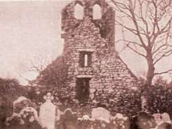 The West Gable of Seskinan Church showing the Double Belfry pre-1990's. - The Irish Place