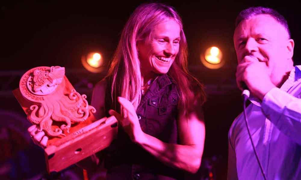 Sharon Shannon receiving the Lifetime Achievement award from Eoin O'Neill at the Doolin Folk Festival, 2017 - #doolinfest