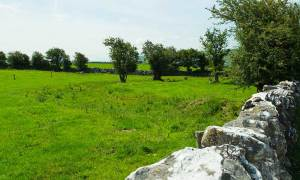 The Ringfort which the approach road to Corcomroe Abbey disects.