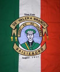 An Irish Volunteer banner from Cavan in 1917 celebrating Eamon de Valera.
