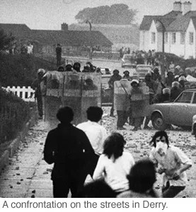 Rioting in Derry, 1971.