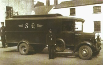 A Garda van in the 1930s. The Gardai thought many of the anti-Protestant incidents were motivated by local and personal enmities.