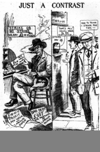 A cartoon portrays Larkin as the real exploiter.