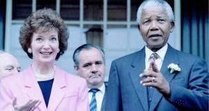 Nelson Mandela with Irish President Mary Robinson