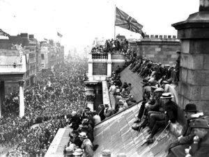 The victory parade in Dublin in 1918, celebrating British victory.
