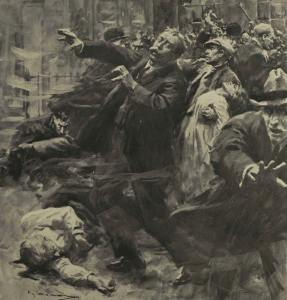 A nationalist depiction of the shootings at Bachelor's Walk, in which British troops killed three civilians.