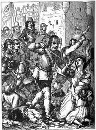 A 19th century depiction of the sack of Drogheda, showing Cromwell observing the massacre of civilians.