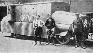 An improvised armoured car made by Polish insurgents in Silesia, where they fought pro-German paramilitaries.