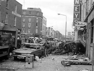 The aftermath of a loyalist bomb in Dublin 1974.
