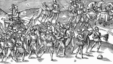 English troops collect heads during the rebellion.