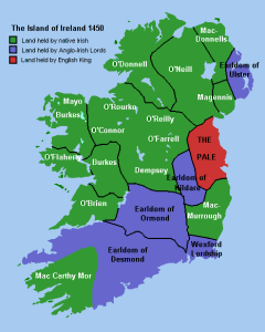An approximate map of lordships in Ireland before the Tudor conquest. (Wikipedia).