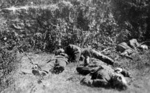 The bodies of the soldiers shot at Ellis Quarry