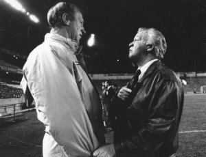 Republic manager Jack Charlton (L) and Northern manager Billy Bingham (R) square up before the game at Windsor Park.