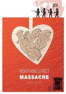 A flyer from the Smithfield Stoneybatter histoy group's commemoration of the North King Street massacre.