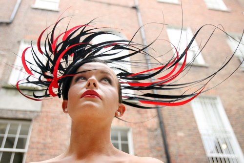 9/7/2009. Philip Treacy hat winner. The lucky winner of the one of a kind Philip Treacy hat inspired by Lyons Gold Blend, Doireann Ni Dhalaigh, aged 20, is pictured wearing the hat at Ely Place Dublin. Doireann will also wear the stunning hat to Ladies Day at the Galway Races on 30th July, where it?s sure to cause a stir. Picture James Horan/RollingNews.ie