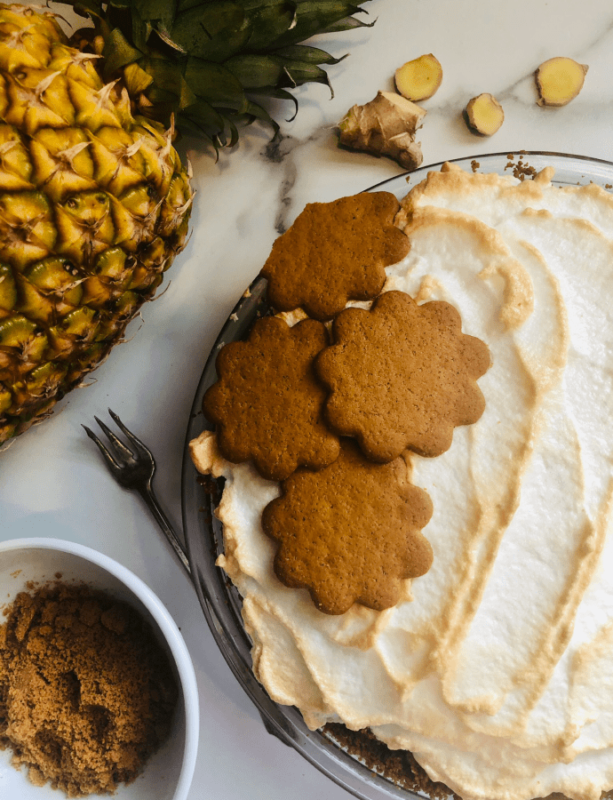 Pineapple Cream Pie with Ginger Cookie Crust