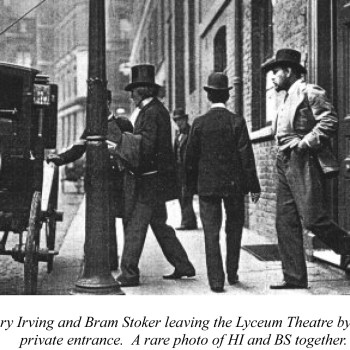 Henry Irving and Bram Stoker leaving the Lyceum Theatre by the private entrance. A rare photo of HI and BS together.