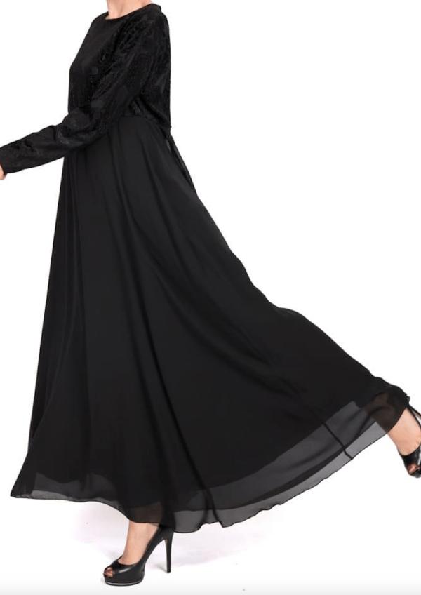 Black velvet bodice abayah by Q&S Islamic Store
