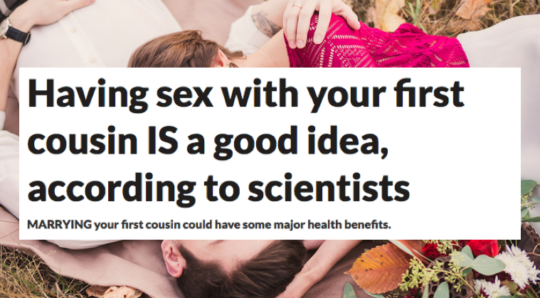 Having sex with your first cousin
