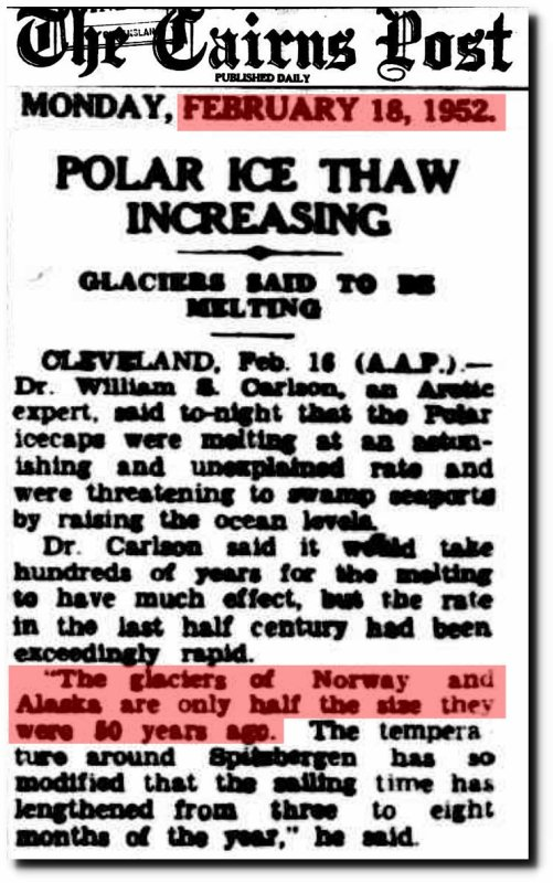 glaciers melting 50s
