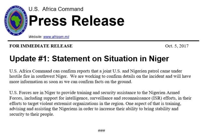 africom 3 special troops dead niger