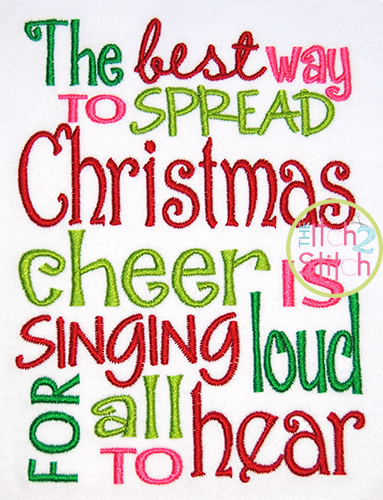 Spread Christmas Cheer Embroidery Design  The Itch 2 Stitch
