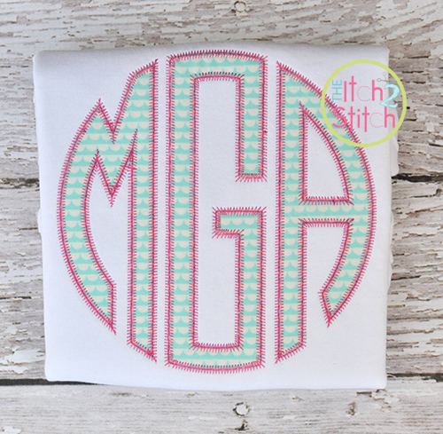 applique circle monogram