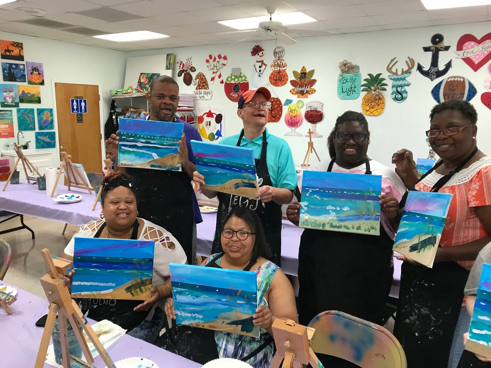 Special Needs Adults Visit Sumter For Painting Class