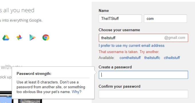 create google strong password