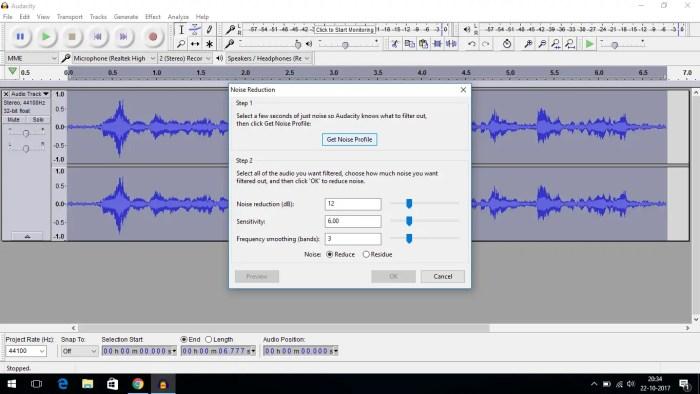 audacity noise reduction get noise profile