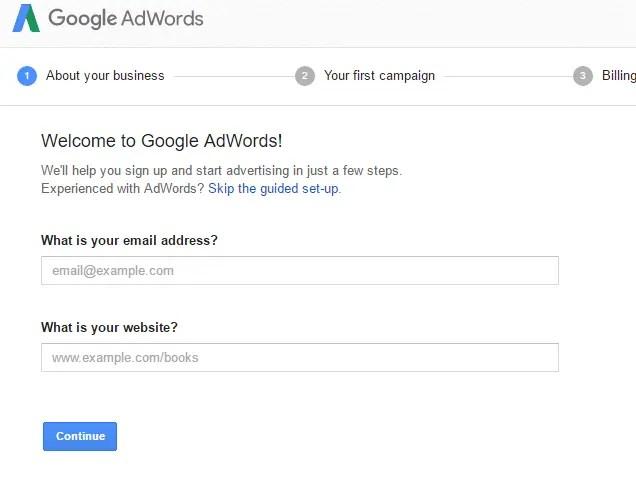 AdWords registration