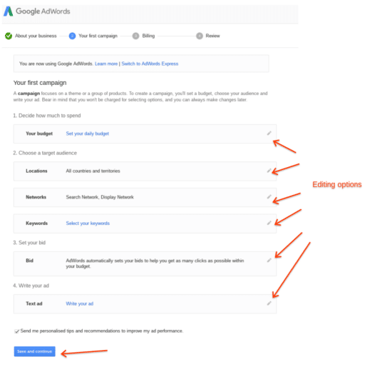 create first Google adwords campaign