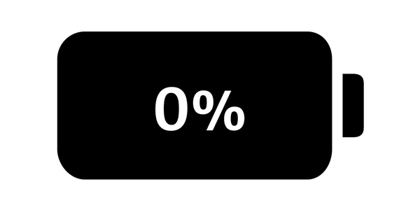 0% battery icon