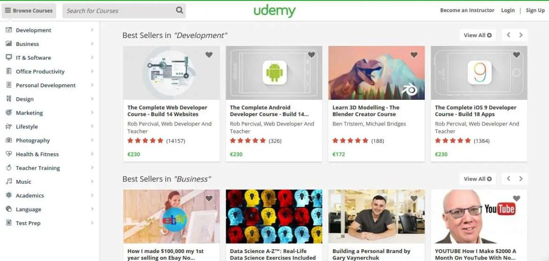 Udemy MOOCs categories