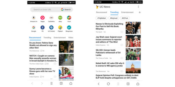 uc browser's embarrassing news homepage