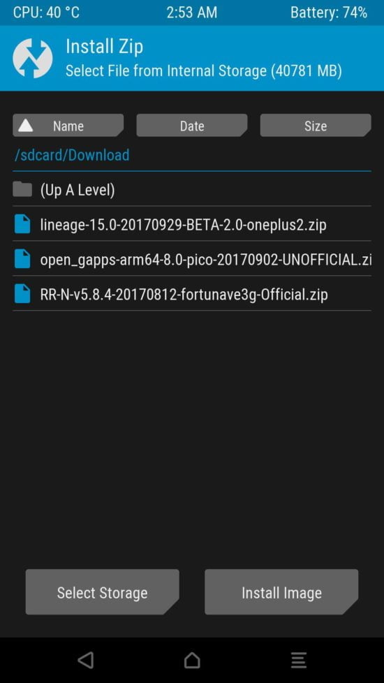 browse to custom rom