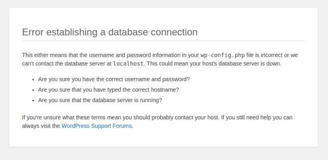 found any database connection error