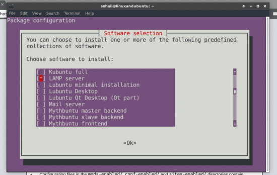 run tasksel install lamp server in ubuntu with tasksel