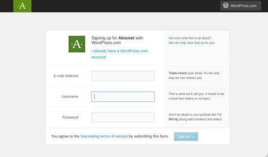 sign up on wordpress for akismet api