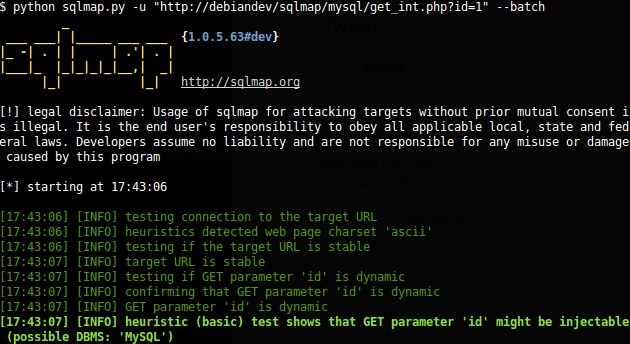 sqlmap sql injection tool