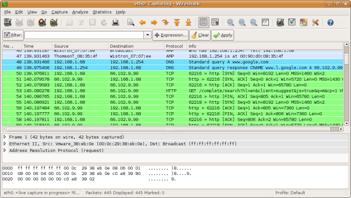 wireshark network sniffer tool