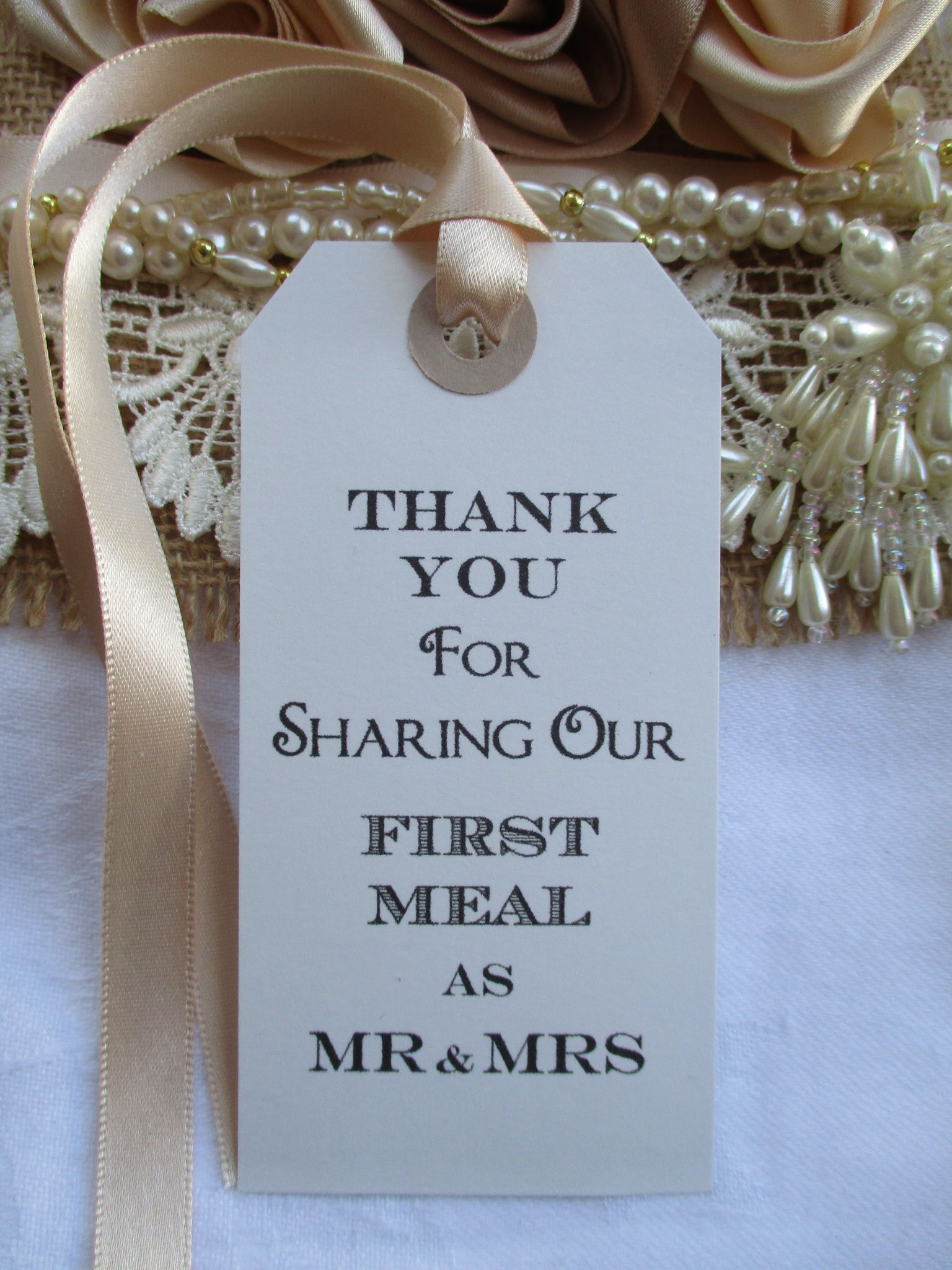 10 Thank You for Sharing Our First Meal as Mr  Mrs Napkin Tie White