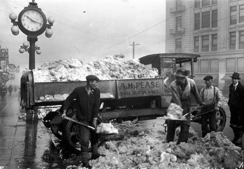 Shoveling snow, 1923