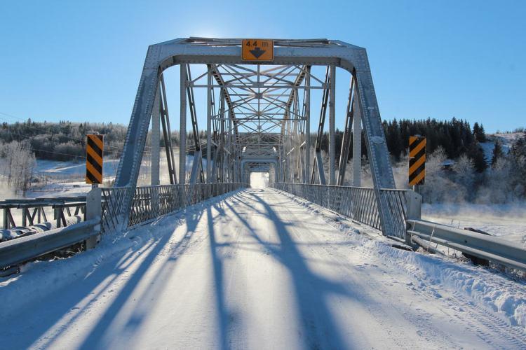 Cochrane bridge on a very cold Alberta Day