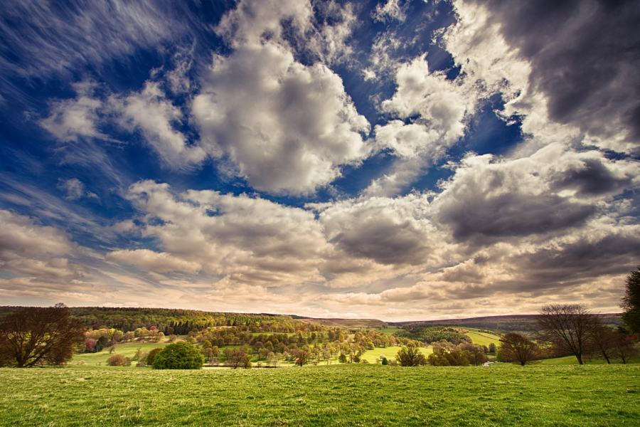 Beautiful English Landscape With Meadow And Dramatic Sky