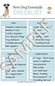 New Dog Puppy Starter Checklist