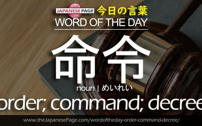 Advanced Word of the Day – 命令 [order; command; decree]