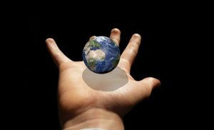 world on hand